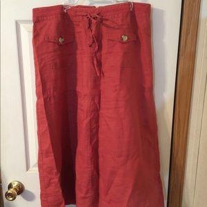 Cherokee Red Linen Skirt Size 12